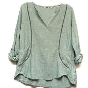 Soft Surroundings Tab Sleeve V-Neck Cotton Top
